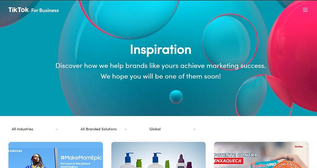 TikTok Organic Social Media Content Inspiration Page Screenshot
