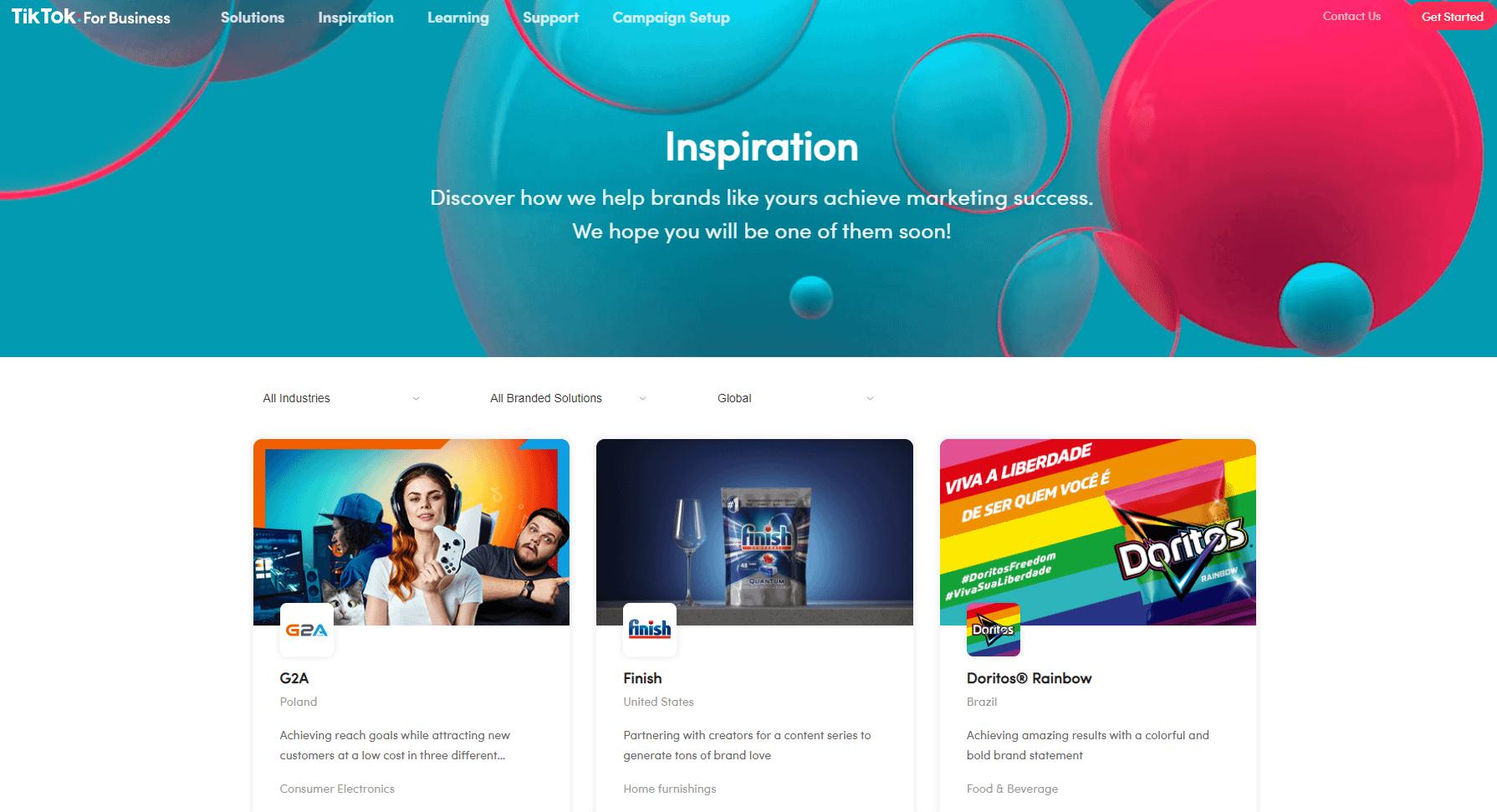 Advertise On TikTok Campaign Inspiration Case Studies Screenshot
