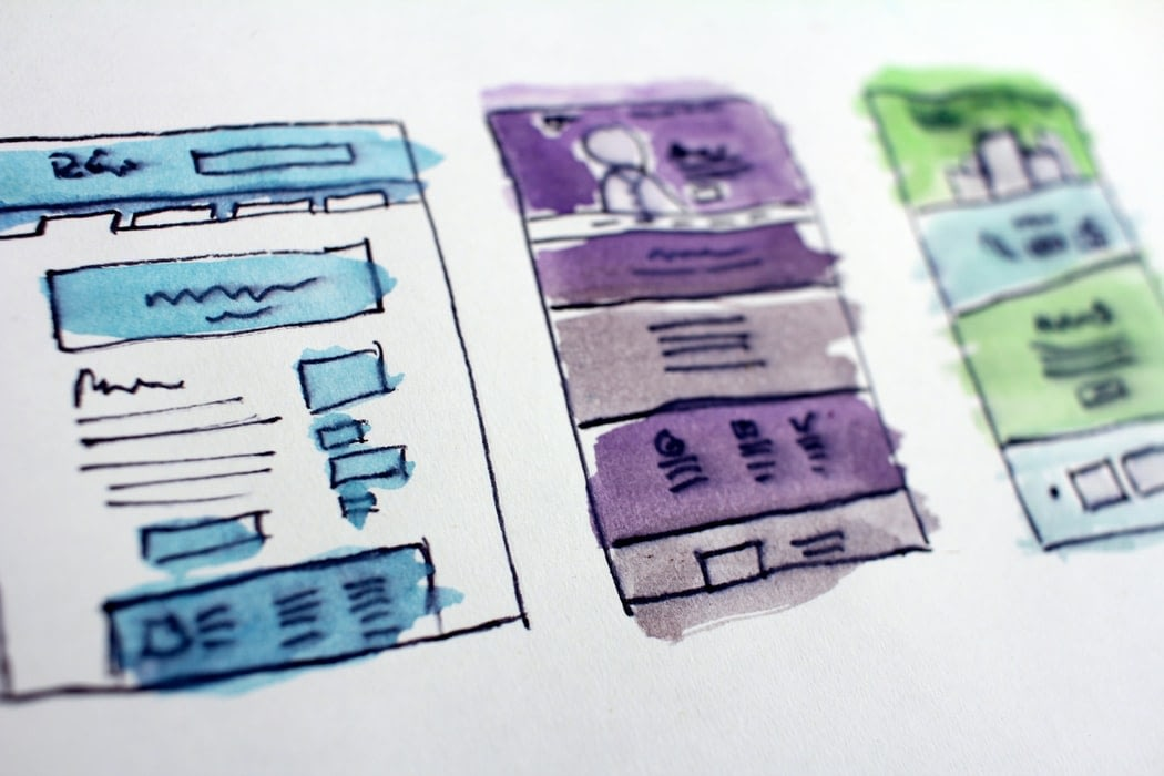 3 rough drawings of various documents.