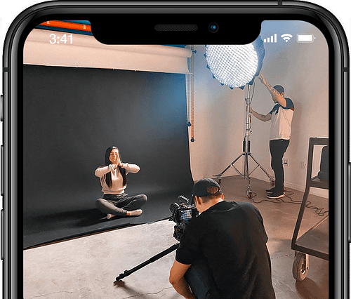 Social commerce video ads BTS on phone