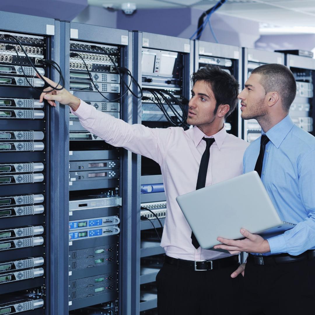 eCommerce Software & Marketin IT engineers in Server Room