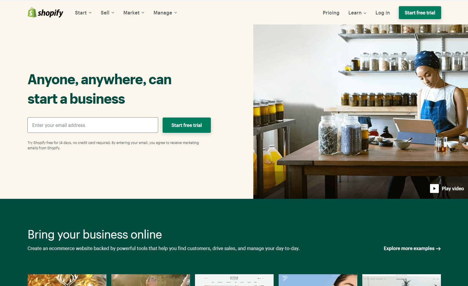 eCommerce software and marketing shopify screenshot