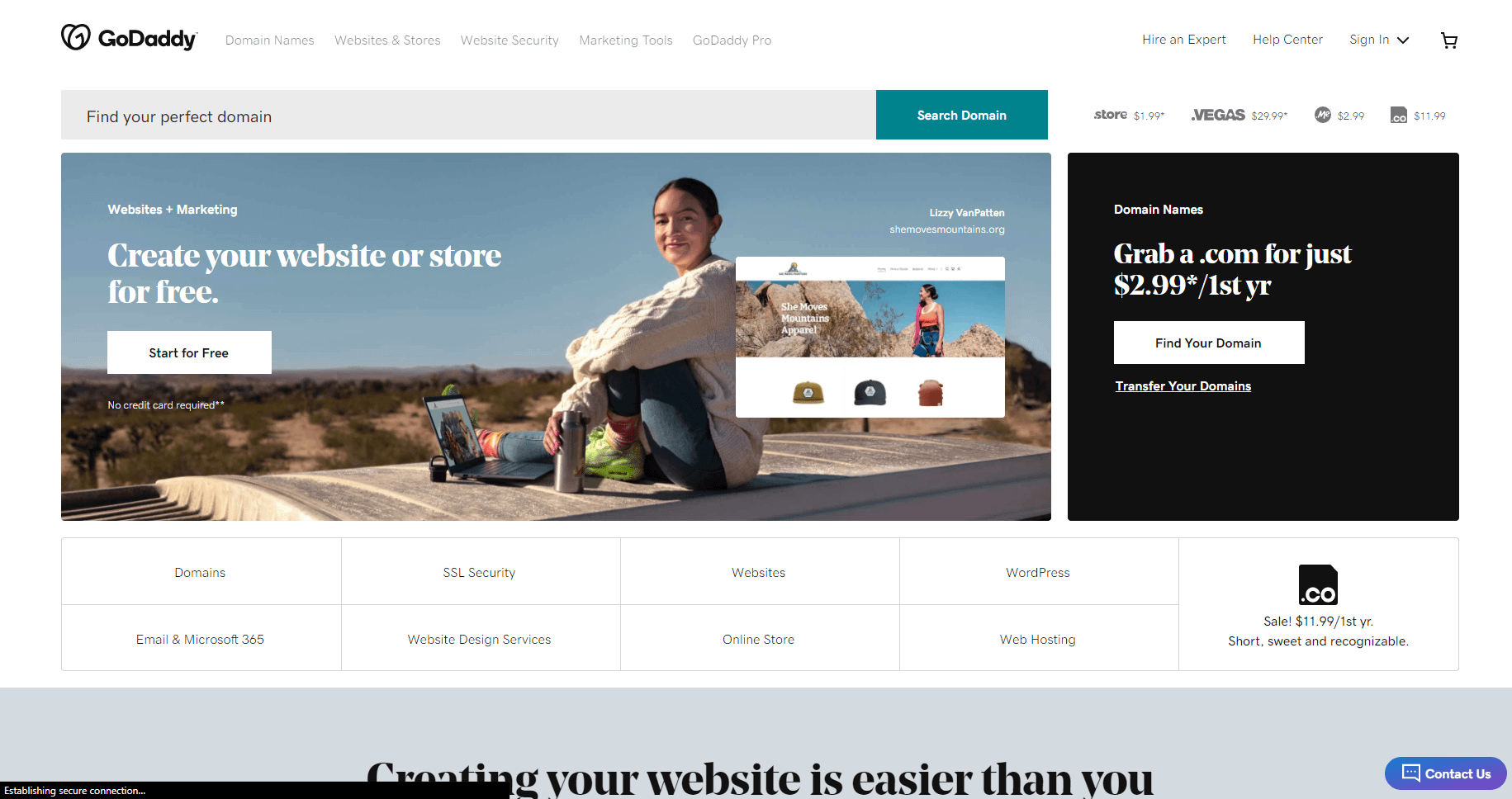 eCommerce software and marketing GoDaddy screenshot