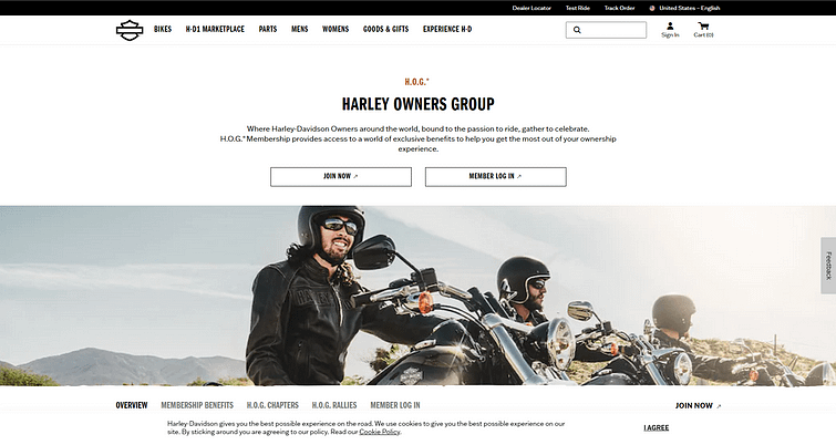 Harley Owners Group or HOG Website for Social Media Echo Chambers Article