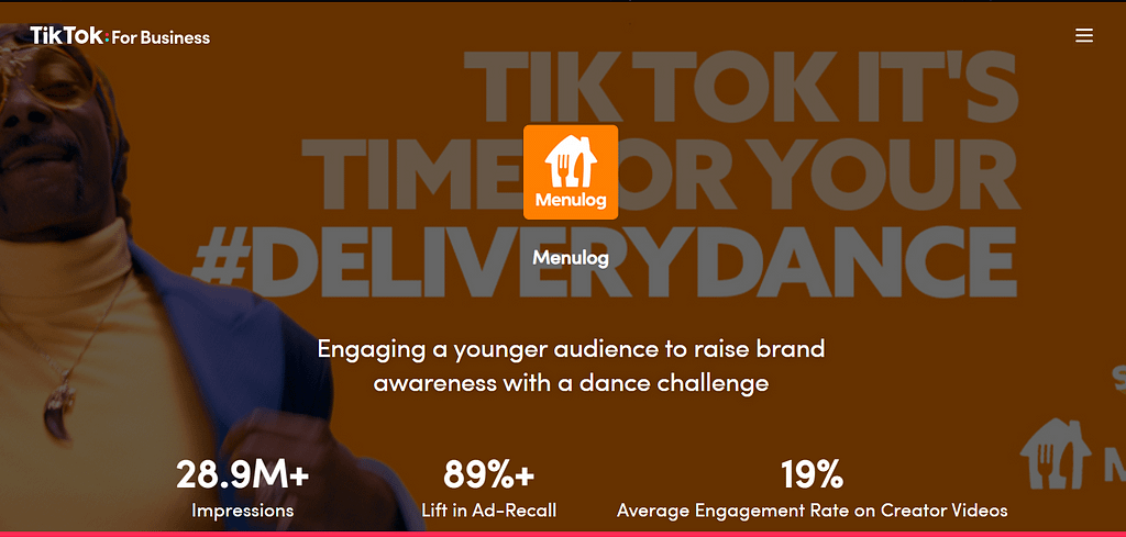 Organic Marketing Screenshot Menulog Dance Challenge Case Study