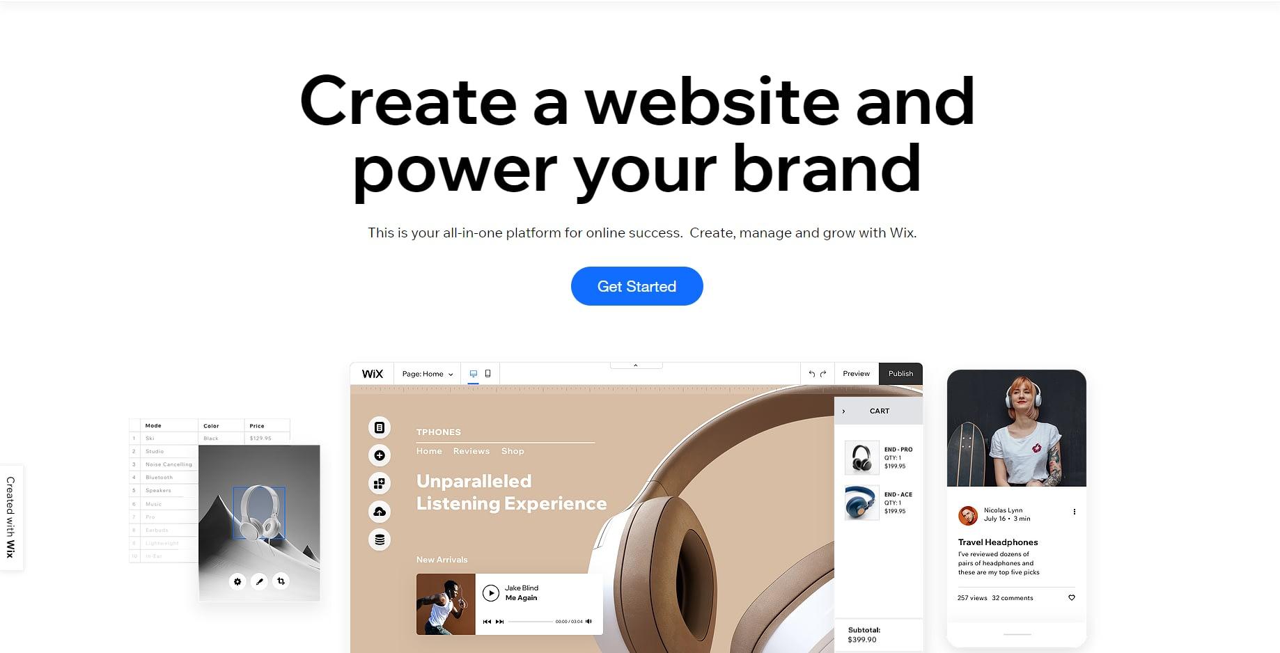 eCommerce software and marketing Wix screenshot