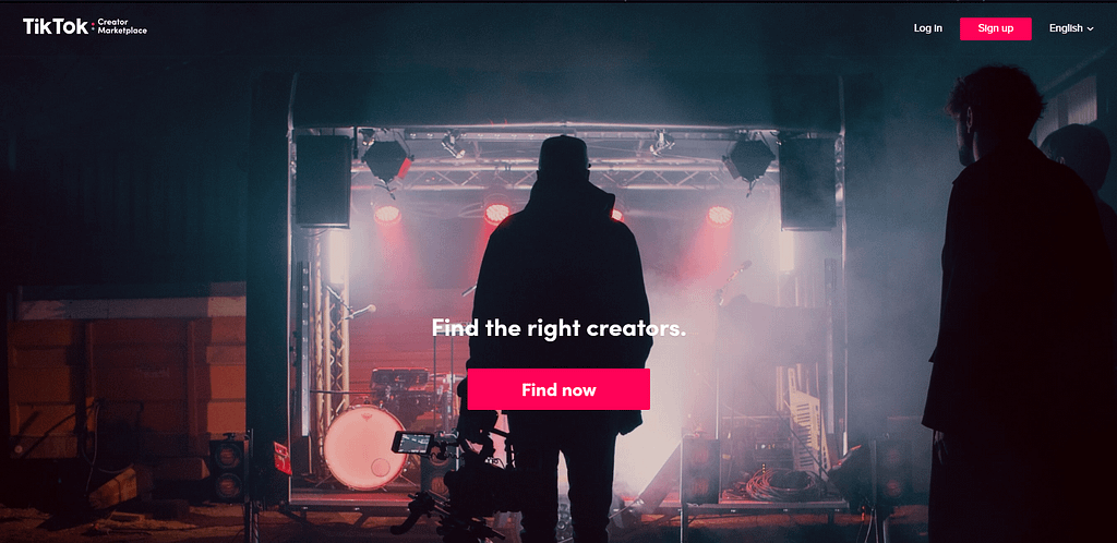 Organic Marketing TikTok Creator Marketplace Page Screenshot